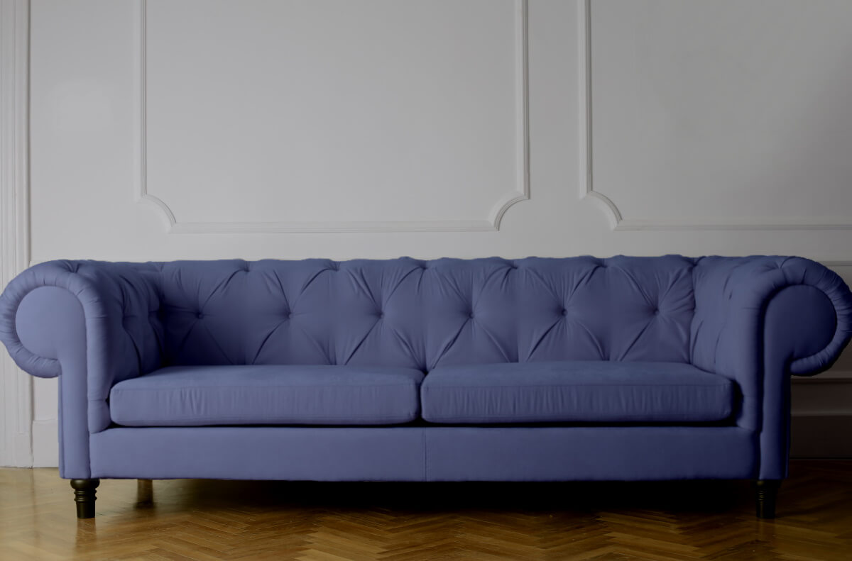 A comfortable, violet therapy sofa